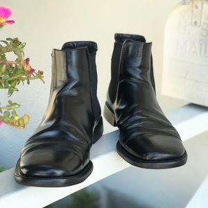 Prada Black Leather Square Toe Chelsea Boots